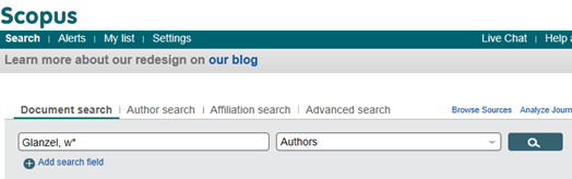 Scopus search interface